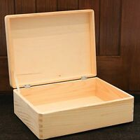 Wooden boxes Wood storage chest memory box plain natural pine 40x30x14cm SD140B