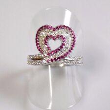 Rubin Weißtopas Designer Damen Herz Ring 925er Sterlingsilber 52 (16,5 mm Ø)