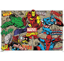 "MARVEL COMICS POSTER ""RETRO BIG5"" HULK,IRON MAN,CAPTAIN AMERICA,THOR & SPIDERMAN"