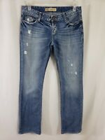 Buckle BKE Sabrina Womens Denim Blue Jeans Sz 29 x 33 Boot Cut Med Wash Low Rise