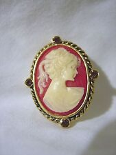 White Face Cameo Orange Braided Oval Crystal Fashion Pin Brooch Gold Metal New  00006000