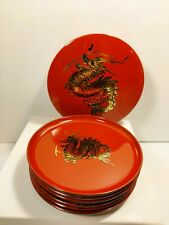6 Vintage Otagiri Lacquerware Dragon Coasters and Container Red and Gold 1950's