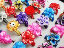 50pcs Children Colorful Rubber Flower Rings Girls Kids Birthday Party bag favor