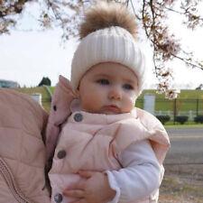 Infantil Bebé Niños Niñas Invierno de Punto Gorro Esquí Piel Imitación Mota Pom