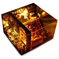 DIY Miniature House Merry Christmas Snow living room Dollhouse Kit Acrylic Case