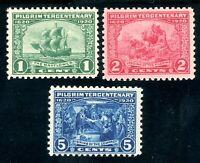 USAstamps Unused VF US Pilgrims Complete Set Scott 548 MNH, 549, 550 OG MLH