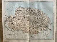 1870 Norfolk Antique Hand Coloured County  Map By William Hughes