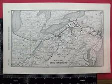 100 YEAR OLD 1916 ERIE RAILROAD SYSTEM MAP PN IN NY RR HISTORY