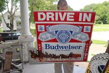 """Large Vintage Drive In Budweiser Beer Movie Theater 37"""" Embossed Metal Sign"""