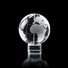 World Earth Globe Paper Weight on Stand Vintage Frosted And Clear Crystal 60mm~