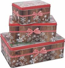 Set of 3 Christmas Cake Rectangular Storage Tins With Biscuit Cookie Design
