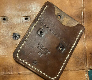 Handmade Swiss Army Leather Ammo Card Wallet. Original Swiss 1965 Stamps