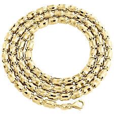 10K Yellow Gold 4mm Barrel Crystal Cut Italian Beaded Chain Necklace 20-28 Inch