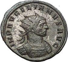 AURELIAN receiving wreath from Orbis  274AD Rare Ancient Roman Coin i54450
