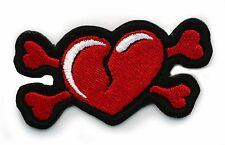 """BROKEN HEART WITH CROSSED BONES 3"""" X 1.5"""" EMBROIDERED MC PATCH"""