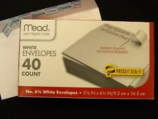 No # 6-3/4 Check Size White Envelopes Made in USA SELF SEALING Box of 40 Mead