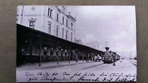 7446 AK/Repro LINZ - Bahnhof mit Dampfmotiv um 1900