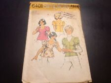 VINTAGE SIMPLICITY #6401 PATTERN FOR MISSES SIZE 7/8 TOPS