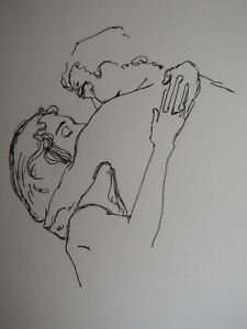 Original pencil drawing couple after Gustav Klimt 'Upper portion of two lovers'