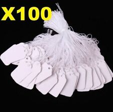 X100 White Strung String Tags Swing Price Tickets Jewelry Retail Tie On Label @