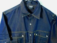 Delf Jean Denim Shirt Men's Medium Blue Gold Short Sleeve Big Metal Button Front