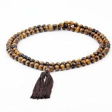 108 Tiger Eye 8mm Beads Tibet Buddhist Prayer Worry Beads Mala Necklace