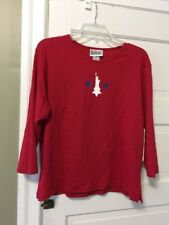 Bill Blass Jeans Womens Sz XL Red USA Statue of Liberty Tee Shirt NWT 3/4 sleeve