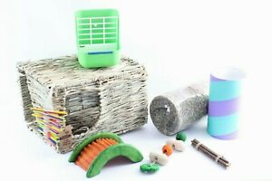 Large Rabbit Grass House Hideout, Hay Feeder, Chew Toys and Tunnel Bundle NEW