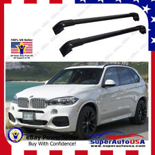 Black Top Roof Rack Fit  For BMW 2014-2019 X5 Baggage Luggage Cross Bar Crossbar