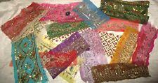 V RARE LOT Antique Vintage Sari TRIM LACE EDGING RIBBON 100 GRAMS CRAFT DOLL OV