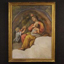 Antico quadro olio su tela dipinto religioso arte sacra cornice XIX secolo 800