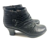 Dansko Womens Ankle Boots Booties Black Ruched Leather Low Shaft Zip 6.5-7 EU 37