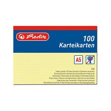 100 Karteikarte Karteikarten A5 liniert gelb Herlitz