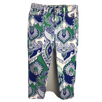 Chicos The Platinum Crop Jeans Stretch Blue White Green Paisley Size .5 Small
