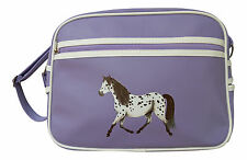 Horse school bag shoulder retro sports bag messenger by Pony Maloney - lilac