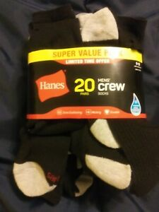 HANES Men's Super Value Pack 18 Pair Crew Socks Wicking Fabric Black/Gray 6-12