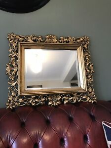 ANTIQUE ITALIAN ROCOCO STYLE BEVELLED MIRROR WITH ORNATE GILTWOOD FRAME STUNNING