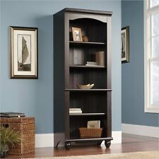 Antique Finish 5 Shelf Library Bookcase Furniture Home Living Display Storage