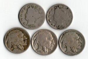 5 PIECES   5 CENTS 1891.1908 . 3 FIVE CENTS 1917.1935.193?