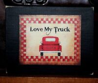 Love My Truck Primitive Rustic Wooden Sign Block Shelf Sitter 3.5X4.5