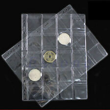 5 Pages 20 Pockets Plastic Coin Holders Storage Collection Money Album Case New
