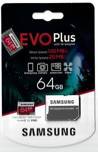 SAMSUNG EVO PLUS - microSDXC - 64GB with Adapter - NEW