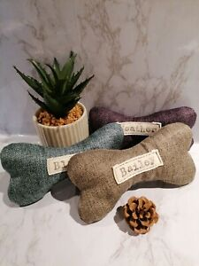 Personalised  dog bone/toy.  Birthday present. Tweed fabric. With squeak