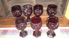 Set of 7 Avon 1876 Cape Cod Ruby Red Glass Wine Water Goblets 4 1/2 in Tall