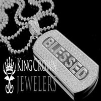 14k White Gold Tone Sterling Silver Blessed Pendant Necklace Chain Pendant Charm