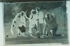 (1) B&W Press Photo Negative Vintage Dressed Stage Back Drop Umbrella T422