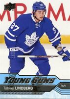 16/17 UPPER DECK YOUNG GUNS ROOKIE RC #491 TOBIAS LINDBERG MAPLE LEAFS *41403