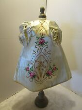 """Antique GOWN JESUS INFANT OF PRAGUE RELIGIOUS STATUE ROBE HAND PAINTED ROSES 16"""""""