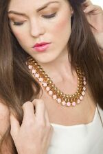 Statement Necklace Gem And Gold Bead Collar Design Pendant Fashion Style Jewelry