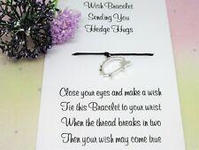 Hedgehog Hugs Wish Bracelet Anxiety Gift Card Bear Charm Anklet Friendship Worry